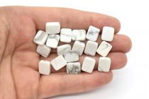 Howlite (Natural) Flat Rectangle Gemstone Beads