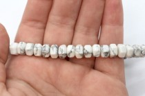 Howlite (Natural) Six Sided Drum Gemstone Beads