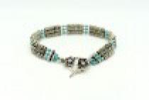 Bali Sterling Silver & Swarovski Crystal Turquoise Bracelet