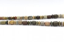 Imperial Jasper (Natural) Graduated Tube and Rondelle Mixed Gemstone Beads