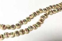 Porcelain Beads Flat Dime, Beige Floral, 7mm