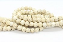 Magnesite (Stabilized) Cream/Ivory, Matte/Frosted, A grade Round Gemstone Beads
