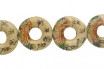 Ivory Porcelain Donut Beads with Flowers and Chinese Characters
