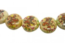 Ivory Porcelain Flat Coin Beads with Hand Painted Bird