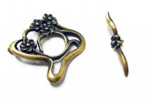 Antique Brass Toggle Clasp  JBB Findings ( Flower)
