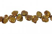 Keshi / Top Drilled Petal Freshwater Pearl - Bronze - Brown ,Light  (Dyed ) 10x15mm