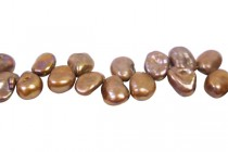 Keshi / Top Drilled Petal Freshwater Pearl - Brown Peacock ( Dyed  ) - 11x12mm