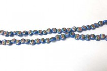 Porcelain Beads Flat Dime, Light Blue Floral,7mm