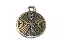 Charm,Labyrinth, TierraCast®: ,antique silver - plated pewter (tin-based alloy), 16mm .