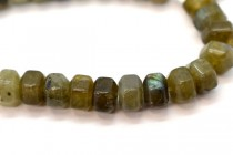 Labradorite (Natural) Six Sided Drum Gemstone Beads