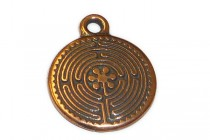 Charm,Labyrinth, TierraCast®: ,antique copper - plated pewter (tin-based alloy), 16mm