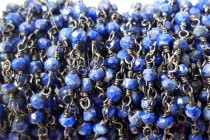 Lapis Lazuli,Natural,Faceted Rondelle Wire Wrapped Beaded Chain,Gunmetal Plate Over Copper