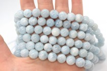 Aquamarine (Natural) A Grade Smooth Round Gemstone Beads