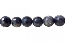 Larvikite (Black Labradorite) Natural Faceted Disco Cut Round Gemstone Beads