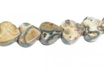 Leopard Skin Jasper (Natural) Heart Gemstone Beads