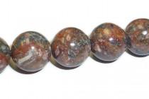 Leopard Skin Jasper (Natural) Smooth Round Gemstone Beads - Red