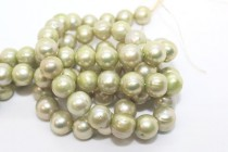 Almost Round Freshwater Pearls - Light Green - A Grade