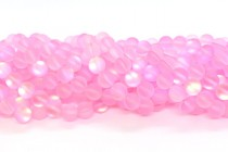 Pink Matte AB Fused Glass Smooth Round Beads