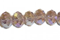 Purple Light AB Chinese Crystal Rondelle Glass Beads