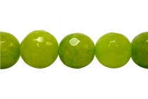 Agate (Dyed) Faceted Disco Ball Cut Round Gemstone Beads - Green Lime