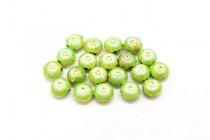 Lime Green & White Enamel Flower Shaped Beads - Puffed Coin EN-06
