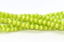 Lime Green Fiber Optic Glass (Cats Eye) Faceted Round Beads