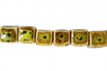 Lime Green Glazed Porcelain Cube Beads