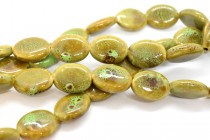 Lime Green Glazed Porcelain Beads - Flat Oval