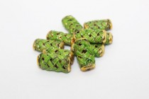 Enamel Lime Green Lattice Beads - Tube