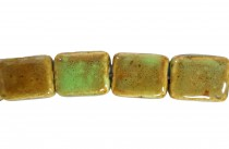 Lime Green Glazed Porcelain Beads - Flat Rectangle