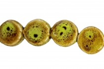 Lime Green Glazed Porcelain Beads - Flat Coin