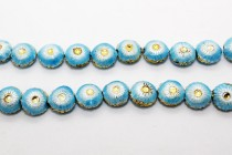 Enamel Light Blue Floral Beads - Puffed Coin Small