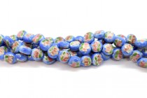 Light Blue Floral Porcelain Beads - Coin Shaped