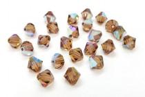 Light Colorado Topaz AB Swarovski Crystal Bicone Beads 5301/5328 - Factory Pack
