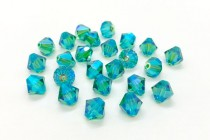 Light Emerald AB2x Swarovski Crystal Bicone Beads 5301/5328 - Factory Pack