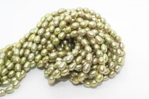 Rice Freshwater Pearls - Light Olive - A Grade