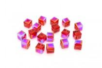 Light Siam Shimmer Swarovski Crystal Cube Beads 5601