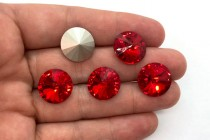 Light Siam Swarovski Crystal Faceted Rivoli Rhinestone - Silver Foil Back 1122