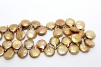 Golden Bronze (Dyed) Top Drilled Coin Freshwater Pearl Beads