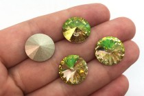 Crystal Luminous Green 1122 Swarovski Crystal Elements Faceted Rivoli Rhinestone foil