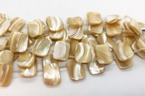 Mother of Pearl Top-Drilled Rectangle Shell Beads - Natural