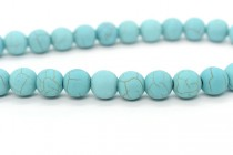 Matte Magnesite (Dyed) Turquoise Blue Smooth Round Gemstone Beads