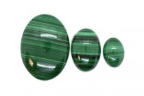 Malachite (Natural) Oval Flat Back Gemstone Cabochon - AA Grade