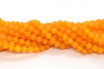 Mango Orange Fiber Optic Glass (Cats Eye) Faceted Round Beads