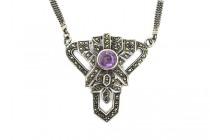 Vintage Sterling Silver & Marcasite Necklace with Amethyst Gem