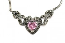 Vintage Marcasite Necklace with Heart Shaped Pink Cubic Zirconia