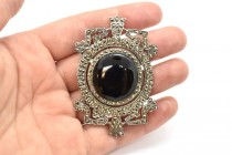 Vintage Marcasite & Sterling Silver Brooch with Black Onyx Cabochon