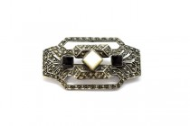 Vintage Marcasite & Sterling Silver Rectangle Brooch with Mother of Pearl and Black Onyx