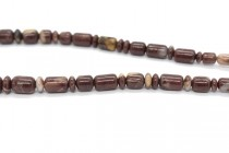 Brown Imperial Jasper (Natural) Graduated Tube and Rondelle Mix Gemstone Beads