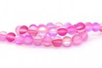 Pink, Dark, AB Matte / Frosted Glass Round Beads